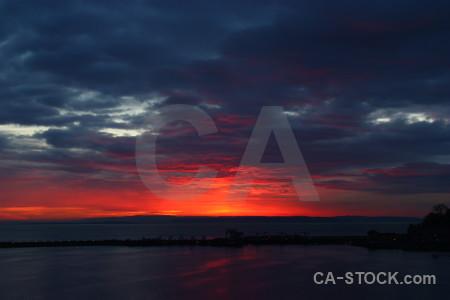 Sunset blue sky red cloud.