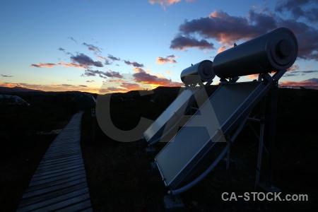 Sunset circuit trek mountain solar panel torres del paine.