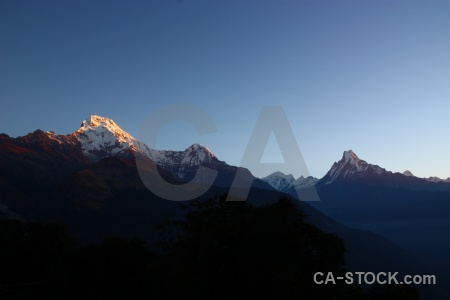 Sunset landscape modi khola valley trek sunrise.