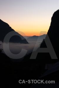 Sunset modi khola valley nepal cloud south asia.