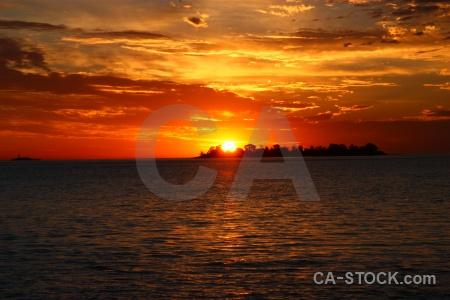 Sunset sea colonia del sacramento water south america.