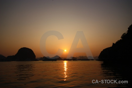Sunset silhouette ha long bay water sunrise.
