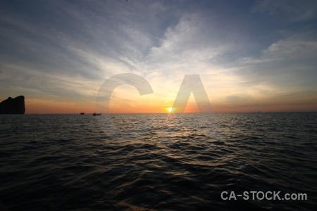 Sunset water vehicle boat sunrise.