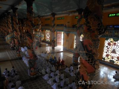Tay ninh holy see church inside pillar asia.