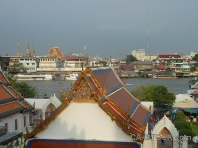 Temple chao phraya river vehicle buddhism bangkok.