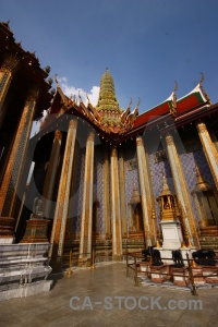 Temple of the emerald buddha pillar thailand ornate.