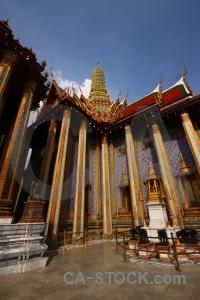 Temple of the emerald buddha pillar thailand ornate.
