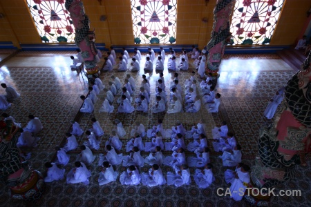 Temple religion inside pray tay ninh holy see.