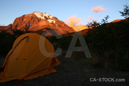 Tent mountain sunrise sunset south america.