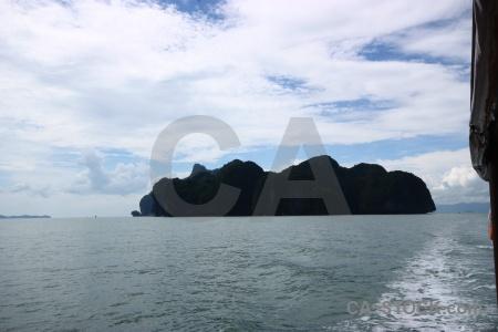 Thailand cliff cloud southeast asia limestone.