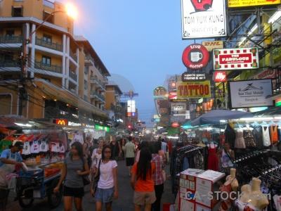 Thailand khao san neon khaosan road building.