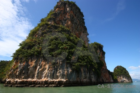 Thailand sky limestone water tree.