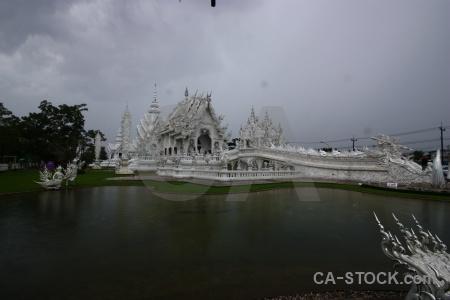 Thailand white temple chiang rai southeast asia lake.
