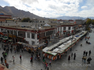 Tibet east asia cloud barkhor bazaar building.