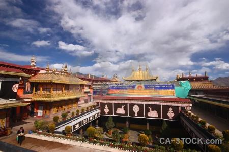 Tibet qokang monastery zuglagkang roof asia.