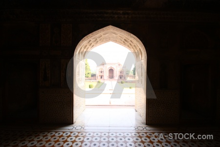 Tomb south asia tile mausoleum archway.
