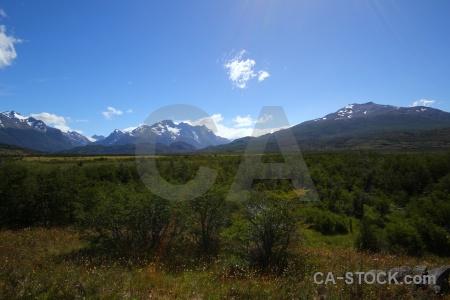Torres del paine patagonia sky grass snowcap.