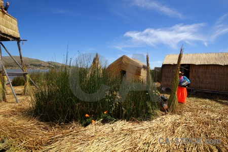 Totora reed floating island building person uros.