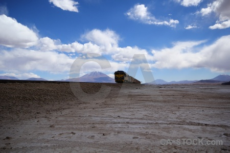Track salar de chiguana train track sky salt flat.