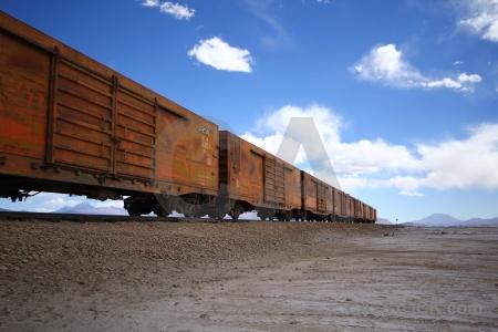 Track salt flat train andes.