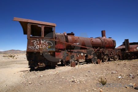 Train cemetery vehicle bolivia altitude.