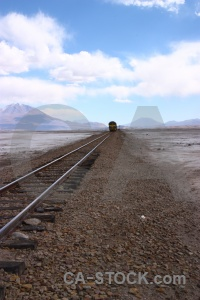 Train vehicle train track bolivia landscape.