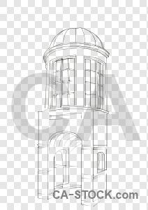 Transparent sketch building.