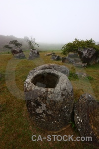 Tree rock asia plain of jars sky.