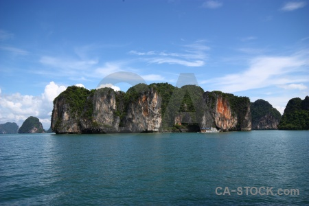 Tropical cliff thailand southeast asia island.
