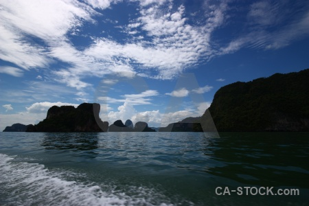 Tropical limestone sky cliff phang nga bay.