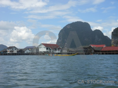Tropical phang nga bay island sky building.