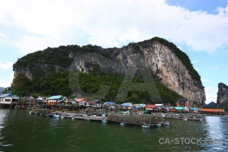 Tropical phang nga bay water floating limestone.