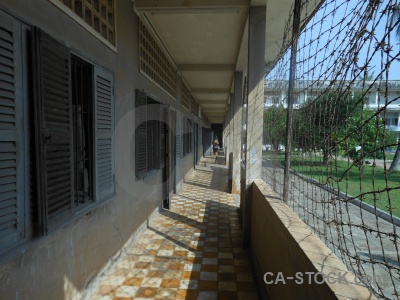 Tuol sleng genocide museum asia prison cambodia chequered.