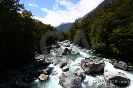 Tutoko river new zealand rock cloud water.