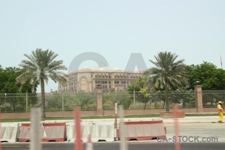 Uae palace building middle east palm tree.