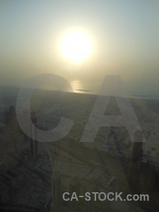 Uae skyscraper aerial sunrise sunset.