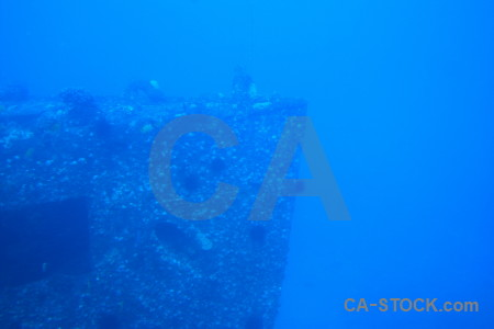Underwater blue wreck.