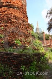 Unesco brick chedi sky ayutthaya.