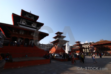 Unesco durbar square person pagoda building.