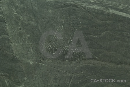 Unesco flying geoglyph hands aerial.