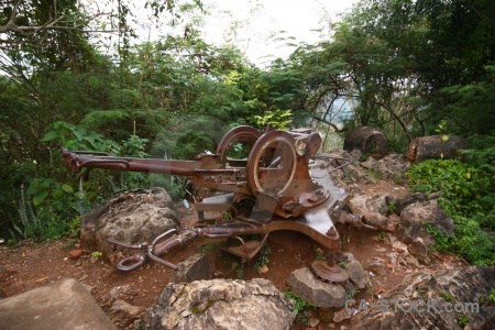 Unesco machine gun rust luang prabang laos.