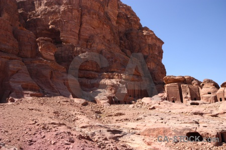 Unesco nabataeans carving historic cliff.