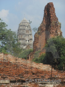 Unesco tree brick stupa cloud.