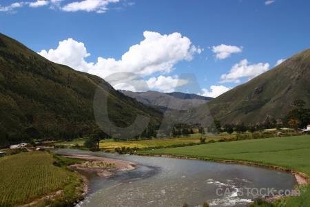 Urubamba river mountain cloud altitude sky.