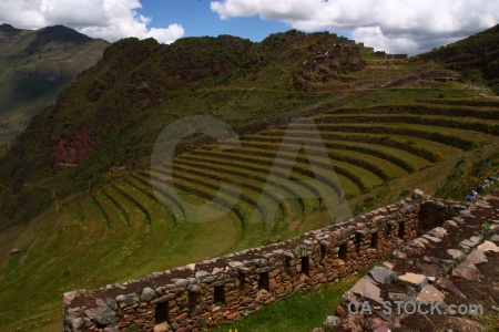Urubamba valley south america grass ruin stone.
