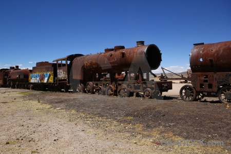 Uyuni south america train vehicle sky.