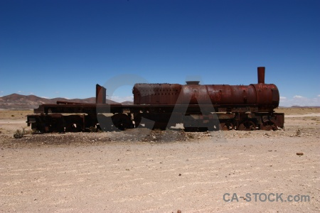 Uyuni train cemetery rust funnel altitude.