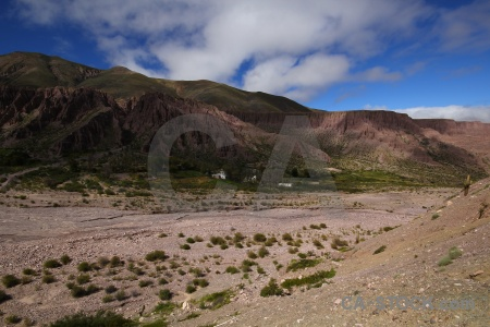 Valley argentina sky cloud river bed.
