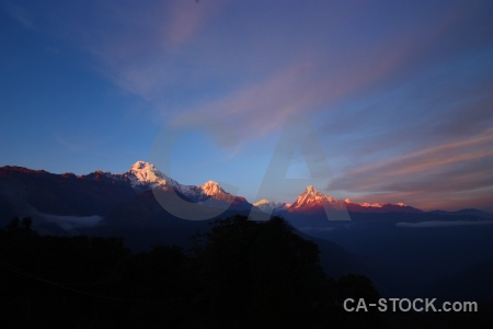 Valley sky sunrise machhapuchchhre nepal.