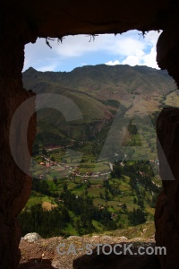 Valley window inca grass ruin.